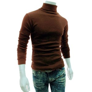 Wholesale Hot Casual Men Long Sleeve Knitwear Autumn Winter Turtle Neck Slim Fit Basic Pullover Tops MSK66