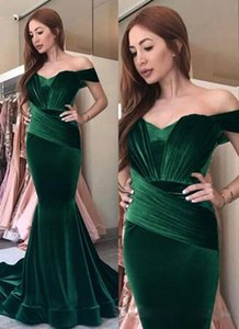 Wholesale Royal Blue Stain Peplum Wear Prom Dresses vintage Sheer Neck Long Off Shoulder Dubai Arabic Mermaid Long Green Evening Formal Gowns