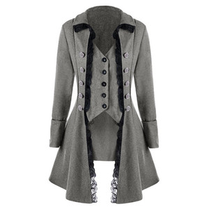 Wholesale LITTHING Women Jacket Medieval Traditional Ladies Trench Coat British French Irregular Trenchcoat Costume Button Outerwear