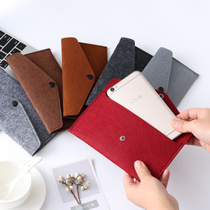 Wholesale Felt phone bag multifunctional holder storage organizer box hasp smartphone storage business bag fashion coin wallet FFA2680