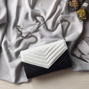 Wholesale New designer luxury handbags purses white with black stripe leather sliver chain crossbody bag top quality ladies brand shoulder bags