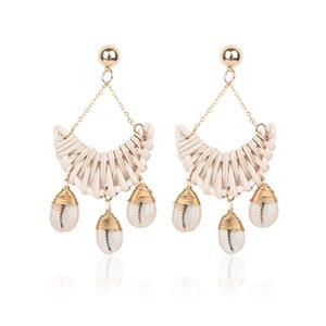 Wholesale DoreenBeads Handmade Drop Shell Tassel Earrings Weave Rattan Trendy Women s Jewelry for Summer Beach Party Vacation Pair