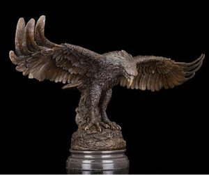 Wholesale Western Abstract Art Sculpture Eagle Hawk Bronze Copper Marble Statue Figurine Brass Fine Arts Crafts decoration