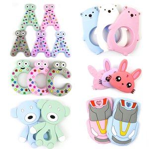 Wholesale child tooth resale online - A and C Letter Car Rabbit Polar Bear Baby Pacifiers Silicone Molar Stick Bunny Soother Teether Teething Safety Child Chews Teeth Stick M449