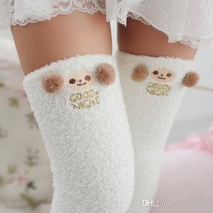 Japanese Mori Girl Animal Modeling Knee Socks Striped Cute Lovely Kawaii Cozy Long Thigh High Socks Compression Winter Warm Sock on Sale