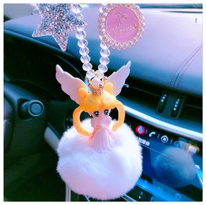 Wholesale Sailor Moon Figure Toys Anime Sailormoon Interior Hanging Ornament Cartoon Fur Pompom Car Pendant Key chain Decoration D306