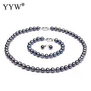 Wholesale Natural Cultured Freshwater Pearl Jewelry Sets bracelet & earring & necklace Potato for woman black 9-10mm Sold By Set