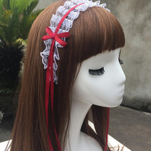 Wholesale Lolita Girls Lace Ribbon Tassels Headband Xmas hair hoop cosplay Dressed up Anime Waitress Maid Devil Hairband Cosplay Costume Accessories