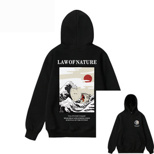 Wholesale Mens Harajuku Law of Nature Drowning Cat Printed Sweatshirt Male Female Hip Hop High Street Pullover