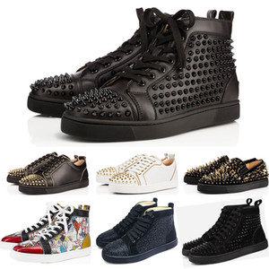 2019 designer shoes Studded Spikes Flats shoes Red Bottoms shoes Mens Womens Party Lovers Genuine Leather Sneakers size 36-46