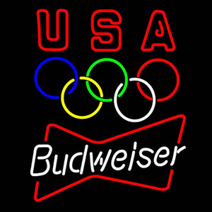 Custom New Natural Ice Real Glass Budweiser Olympic Neon Sign light Beer Bar Sign Send need photo