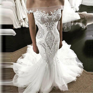 2019 Sheer Off Shoulder Mermaid Wedding Dresses White Lace Off the Shoulder Zipper Back Sexy Ruffle Bridal Wedding Dress on Sale