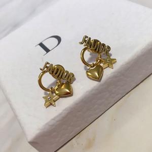 hot luxury jewelry women earrings gold bird heart designer earrings retro popular elegant five-pointed star stud high quality