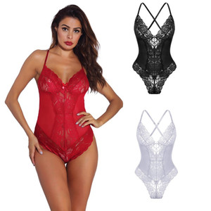 Women's Sexy Midnight Lingerie Sheer Floral Lace & Mesh Teddy and Bodysuit with Criss-cross Adjustable Straps Sleepwear Underwear S-XXL Mult