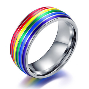 Wholesale Fashion Mood Rings Women Men Colorful Rainbow Ring Stainless Steel Wedding Band Ring Gay Rings Drop Shipping