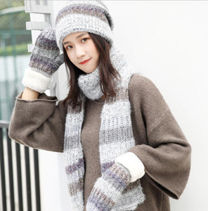 Wholesale Thread hat scarf glove suit fashion knitting stripe three piece set free shipping 001
