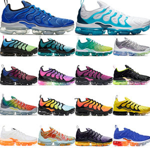 Wholesale Mens top quality TN Plus running shoes aurora green lemon lime Grid Print spirit teal be true rainbow men women fashion sneakers