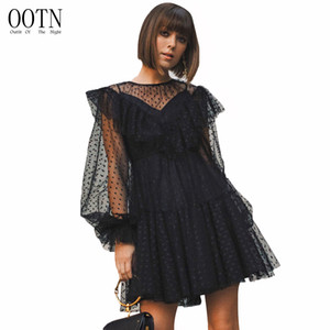 Wholesale OOTN Polka Dot Tull Short Dress Women Long Sleeve Black Mesh Sheer Dresses Female See Though Sexy Flare Dresses Ruffled Sarafans