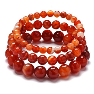 Wholesale Simple mm Round Ball Beaded Circle Stretch Bracelets Natural Red Lace Veins Agates Stone Wristband Bracelets Women Gifts