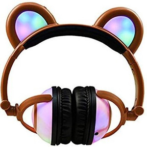 Wholesale Bear Ear Kids LED Headphones Flashing Glowing Cosplay Foldable Over Ear Gaming Earphone for Girls Boys Phone PC Laptop Computer Stock in USA
