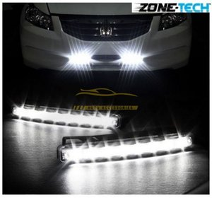 Wholesale New White Car 12V DC Head Lamp Daytime Running Light 8 LED DRL Daylight Kit free shipping