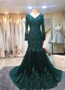 Wholesale Fast Shipping Dak Green Long Sleeve Evening Dresses Mermaid Lace Arabic Plus Size Prom Gowns Vestido de noche Formal Pageant Party Dress