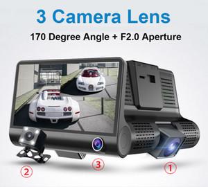 "3 cameras car DVR auto driving dashcam vehicle video recorder 4"" display FHD 1080P front 170° rear 140° interior 120° night vision G-sensor"
