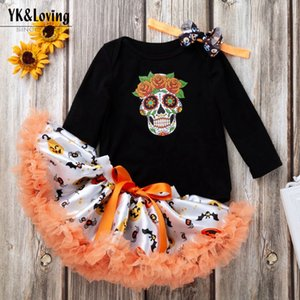 Fashion baby girl Halloween clothing set long sleeve skull top and tutu dress with hairband boutique kids clothing on Sale