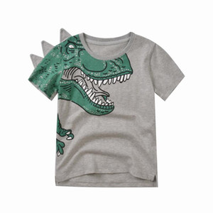 Wholesale Summer Kids Designer Baby Boy Clothes Pure Cotton Dinosaur T Shirts for Boys White Grey Water Printing Children Tops Wholesale