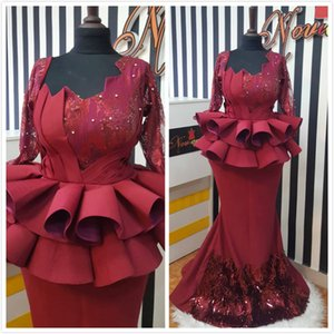2019 Aso Ebi Arabic Burgundy Mermaid Sexy Evening Dresses Long Sleeves Lace Prom Dresses Cheap Formal Party Second Reception Gowns Dresses on Sale