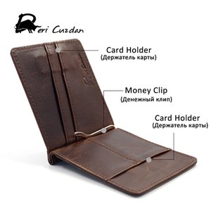 Wholesale DERI CUZDN Leather Money Clip Slim Magnet Wallet Mans Famous Brand Nice Leather Money Clips with Coin Pocket I Clip Photo Holder