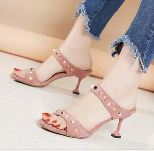 Wholesale 2019 summer new open toe studded high heels stylish sexy slim heel slippers suede hollow Work casual sandals