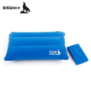 Wholesale BSWolf Portable Outdoor Inflatable Pillow Double Sided Flocking Travel Pillow Inflatable Cushion Soft Neck Protective HeadRest