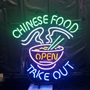 Wholesale Factory CHINESE FOOD OPEN Beer Led Glass Tube Neon Signs Lamp Lights Advertising Display Bar Decoration Sign Metal Frame