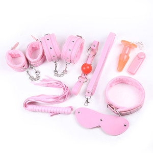 Wholesale 7pcs Erotic Toys for Couples Pink Leather Handcuffs for Sex Games Mask Whips Mouth Gag Ankle Cuffs Collar Bondage Restraints Sex Accessories