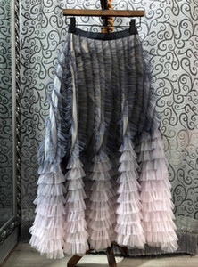 Heavy industry women's 2020 new color gradient layer pleated Mesh Hem cake skirt