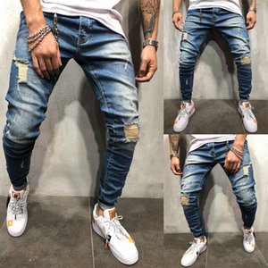 Wholesale Men s Skinny Slim Fit Straight Ripped Distressed Pleated Knee Hole Denim Pants Summer Dark Blue Stretch Pencil Jeans MX190718