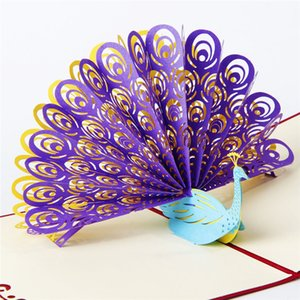 Wholesale Hollow Peacock Handmade Kirigami Origami D Pop UP Greeting Cards Invitation Of Wedding Postcard For Birthday Wedding Party Gift