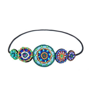 Wholesale New Arrival Women Vintage Bohemian Handmade Multicolor Beaded Round Shape Stretch Elastic Headband Hair Accessories
