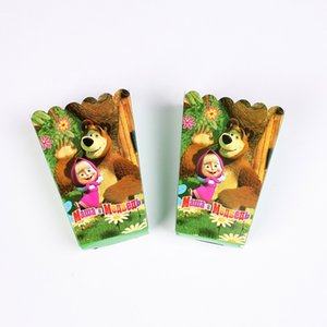 Wholesale 6pcs Masha Bear Popcorn Box Kids Party Supplies case Gift Box Favor Accessory Birthday Party Supplies Favor