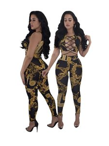 Wholesale Women's fashion European spring sexy tight sportswear gold chain webbing i-shaped vest top + tight pantsuit casual suit