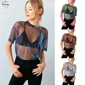 Wholesale Fashion Women Summer Mesh Net Short Sleeves Tops Blouses Transparent Regular Blouse Party Club Wear Drop Shipping Good Quality