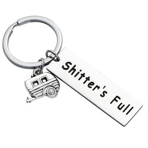 Wholesale s keychains resale online - 12pc Shitter S Full Stainless Steel Keyrings Happy Camper Camping Trailer Charm Pendant Keychains Women Men Friends Party Gifts