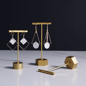 Jewelry Showcase Earring Display Stand Metal Cross Silver Gold Luxury Boutique Shelf Stud Drop Hoop Earrings Holder Prop Jewellery Displays