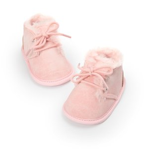 Wholesale Autumn Winter Cute Baby Solid Lace Up Baby Boots Cross tied Shoes Keep Warm Plush Boots