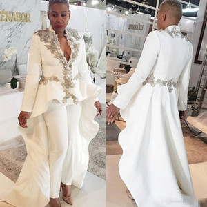 2019 White Women Jumpsuits Evening Dresess Beaded Long Sleeve Deep V Neck Prom Dress Custom Made Sweep Train Formal Party Gowns on Sale