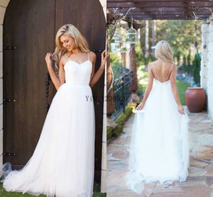 Wholesale Bohemian White Wedding Dresses Spaghetti Backless Tulle Sweep Train Summer Beach Country Simple Bridal Gowns robe de mariee Plus Size Cheap