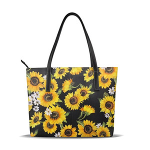 Wholesale NOISYDESIGNS Sunflower Women Leather Handbag Ladies Yellow Totes Bag Soft Large Shoulder Bags Simple Shopping Women Bag Bolsa
