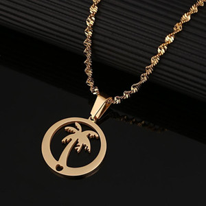Wholesale Stainless Steel Round Pendant Necklace Coconut Palm Tree Hawaii Beach Vocation Chain Jewelry Gift