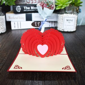 Wholesale 3D Heart Shaped Love Pop UP Cards Wedding Invitations Valentines Day Card Anniversary Gift Card for wife husband Greeting Cards